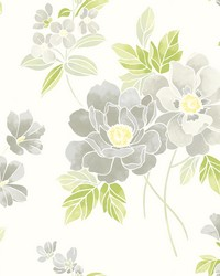 Claressa Grey Floral Wallpaper by