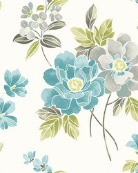 Claressa Teal Floral Wallpaper by