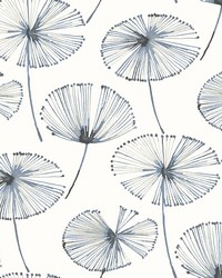 Paradise Navy Fronds Wallpaper by