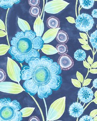 Bloom Blue Floral Wallpaper by