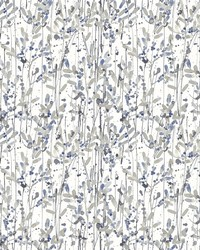 Willow Navy Leaves Wallpaper by