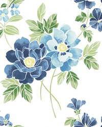 Claressa Blueberry Large Floral Wallpaper by
