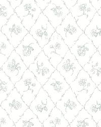 Marianne Teal Rose Trellis by  Brewster Wallcovering