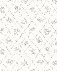 Marianne Grey Rose Trellis by  Brewster Wallcovering