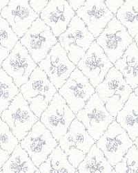Marianne Blue Rose Trellis by  Brewster Wallcovering