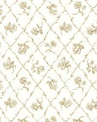 Marianne Gold Rose Trellis by  Brewster Wallcovering