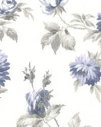 Charlotte Blue Vintage Rose Toss by  Brewster Wallcovering