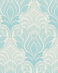 Twill Aqua Damask Wallpaper by