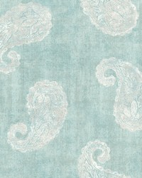 Kashmir Teal Paisley Wallpaper by