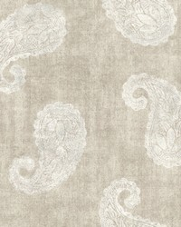 Kashmir Beige Paisley Wallpaper by