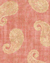 Kashmir Coral Paisley Wallpaper by