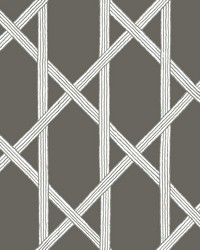Mandara Charcoal Trellis Wallpaper by