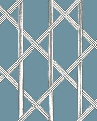 Mandara Blue Trellis Wallpaper by