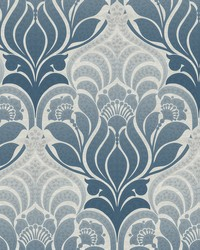 Twill Blue Damask Wallpaper by