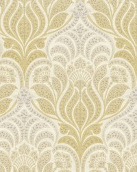 Twill Yellow Damask Wallpaper by