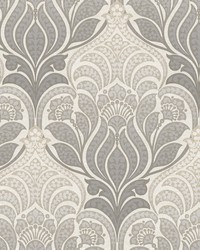 Twill Charcoal Damask Wallpaper by
