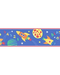 Blast Off Space Blue Border by