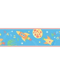 Blast Off Space Turquoise Border by