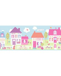Happy Street Village Blue Border by