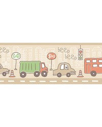 Beep Beep Zoom Taupe Border by
