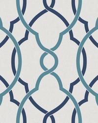 Sausalito Navy Lattice Wallpaper by