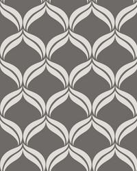 Petals Grey Ogee Wallpaper by