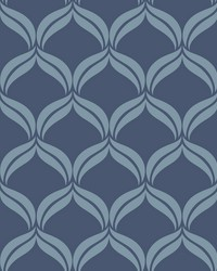 Petals Blue Ogee Wallpaper by