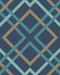 Saltire Navy Lattice Wallpaper by