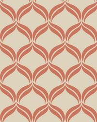 Petals Orange Ogee Wallpaper by