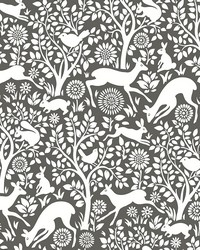 Meadow Charcoal Animals Wallpaper by