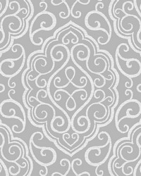Heavenly Grey Damask Wallpaper by