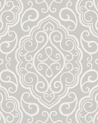 Heavenly Taupe Damask Wallpaper by