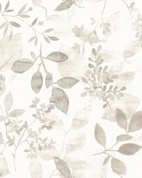 Gossamer Taupe Botanical Wallpaper by
