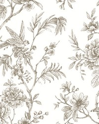 Jessamine Taupe Floral Trail Wallpaper by