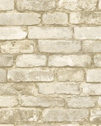Davis Off-White Brick Texture Wallpaper by