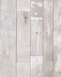 Harbored Light Grey Distressed Wood Panel Wallpaper by