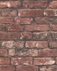 Davis Dark Red Exposed Brick Texture Wallpaper by