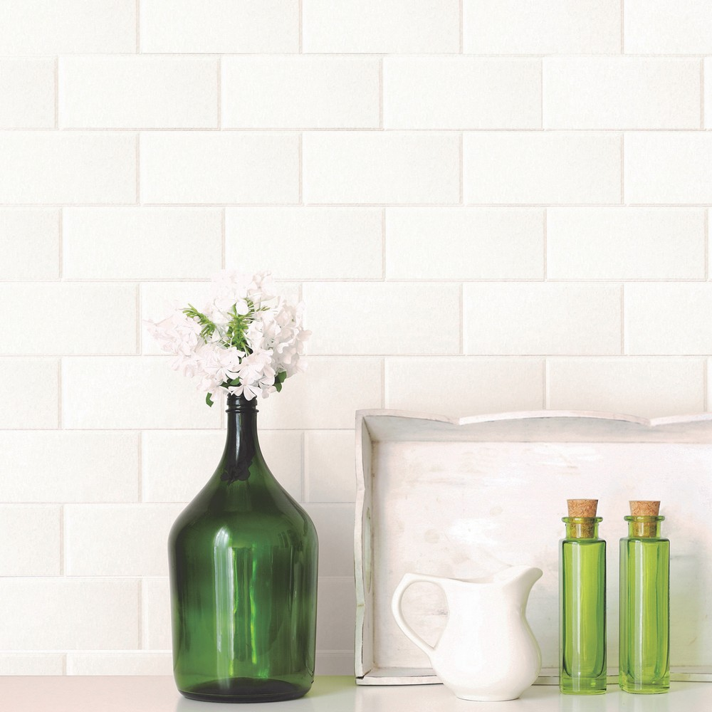 Brewster Wallcovering Galley White Subway Tile Wallpaper ...