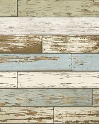 Borough Blue Scrap Wood Wallpaper by