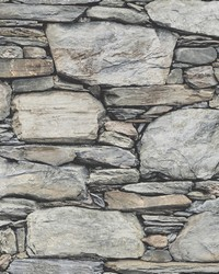 Cobble Light Grey Stone Wall Wallpaper by