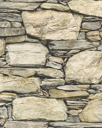 Cobble Neutral Stone Wall Wallpaper by