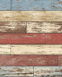 Borough Red Scrap Wood Wallpaper by