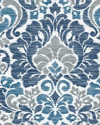 Garden of Eden Blue Damask Wallpaper by