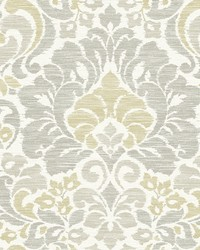 Garden of Eden Yellow Damask Wallpaper by