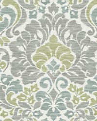 Garden of Eden Green Damask Wallpaper by