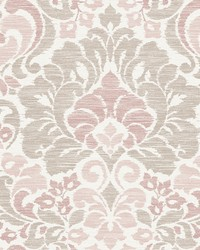 Garden of Eden Pink Damask Wallpaper by