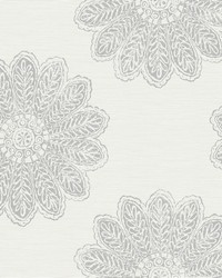Sol Light Grey Medallion Wallpaper by