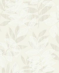 Chimera Champagne Flocked Leaf Wallpaper by