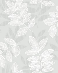 Chimera Silver Flocked Leaf Wallpaper by