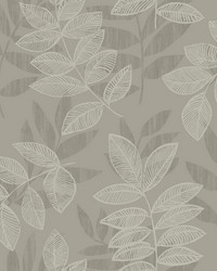Chimera Platinum Flocked Leaf Wallpaper by